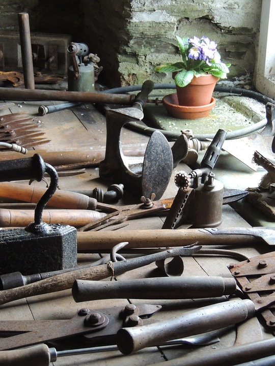 collection of old gardening tools